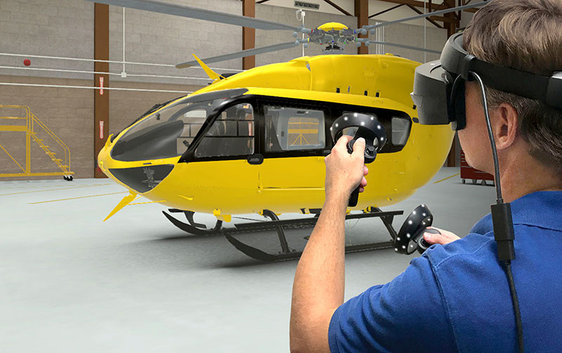 DiSTI uses an Airbus/Eurocopter EC-145, the commercial variant of US Army Air National Guard's UH-72 Lakota airframe, in virtual maintenance trainer scenario. Image credit: DiSTI.
