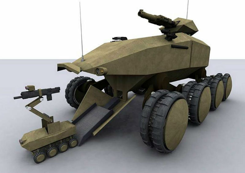 An artist's impression of a Future Protected Vehicle releasing a smaller unmanned ground drone. MoD Open Gov licence.