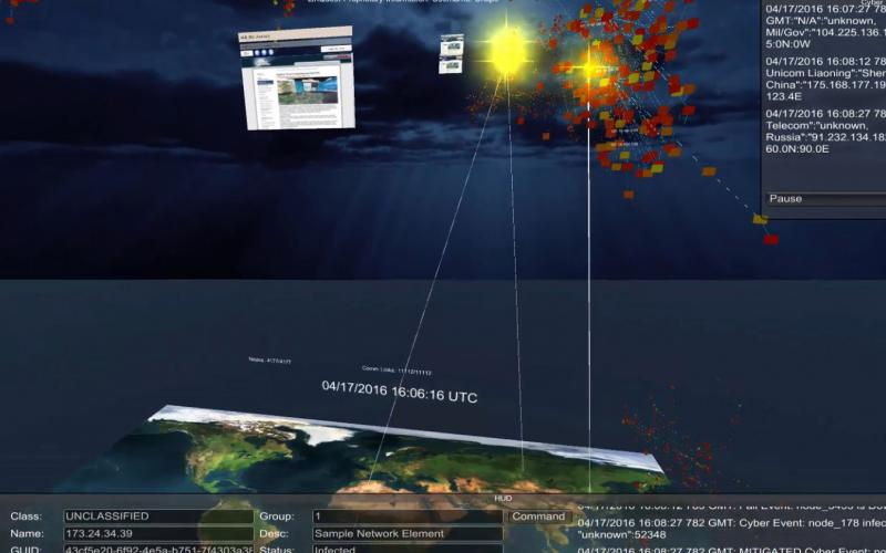 LinQuest's cyber solution allows analysts to view data in 3-D.