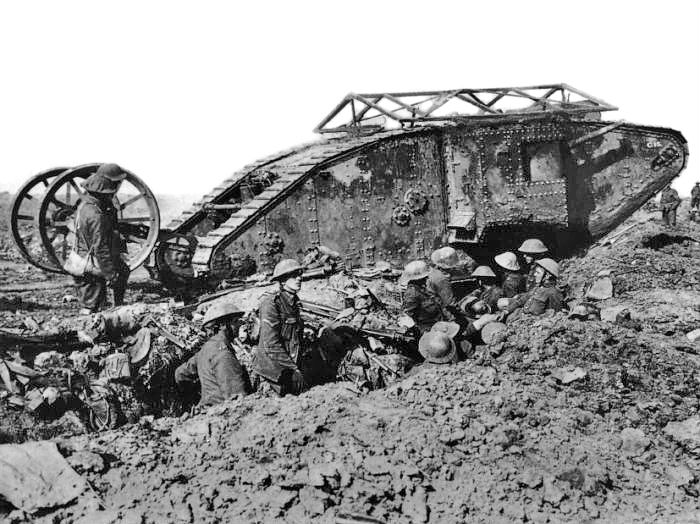A British Mark I (male) tank on the Somme, 25th September 1916; within 20 years of their first appearance, tanks became the dominant symbol of ground power. Photo: courtesy of Imperial War Museum.