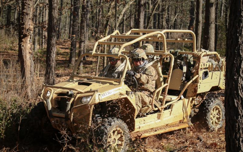 Paratroopers test-drive an all-terrain vehicle at Fort Bragg, North Carolina. Future sensors embedded in a driver's helmet may discern through brain waves that he or she is too fatigued to drive and signal technology to take control of the vehicle.