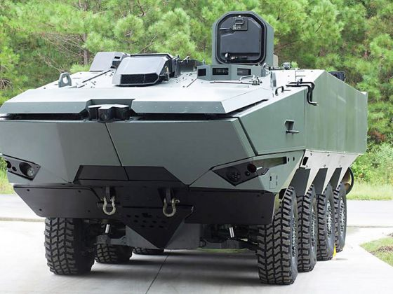 The Terrex 2 is an 8x8 wheeled armoured amphibious combat vehicle that can transport a combat load of up to 11 soldiers and three crew members. In water, it has a hydraulically driven propulsion system with full independent thrust control authority, allowing it to operate even through 1.8m high plunging surf. Photo: SAIC's Facebook page