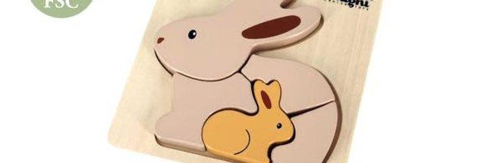 Puzzle incastru din lemn cu iepurasi Magni Danish Toys