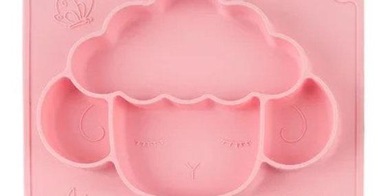 Farfurie oita din silicon pentru diversificare roz