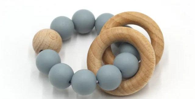 Jucarie  margele de dentitie din silicon - baby blue