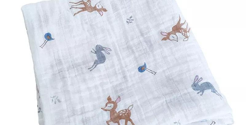 Paturica din muselina , de bumbac pentru bebelus, 100 x120 cm, animale