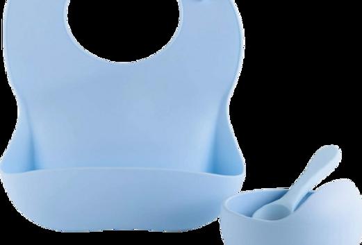 Set diversificare  bol cu ventuza, tacam si bavetica din silicon, albastru
