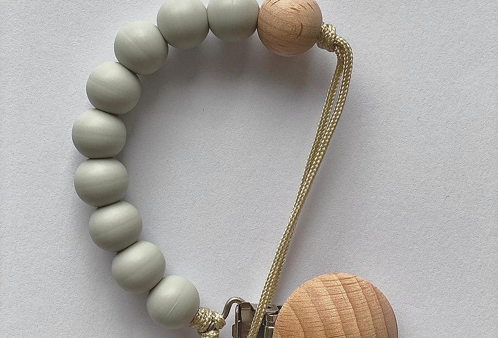 Lantisor cu clips pentru suzeta - light grey