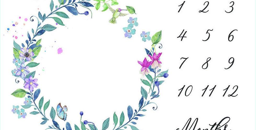 Paturica aniversara Milestone pentru fotografii bebelus- flori