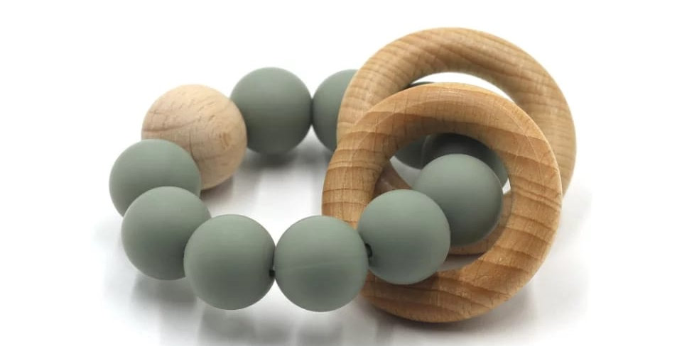 Jucarie  margele de dentitie din silicon - olive