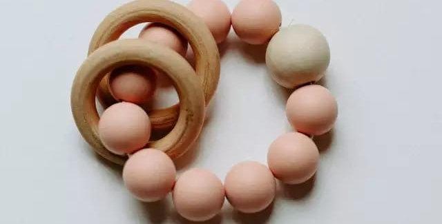 Jucarie  margele de dentitie din silicon - powder pink