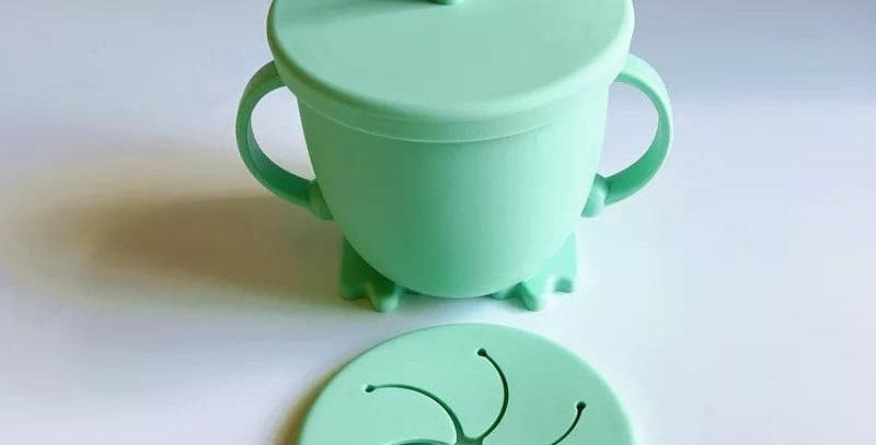 Cana verde din silicon 2 in 1 -  pentru baut si gustare