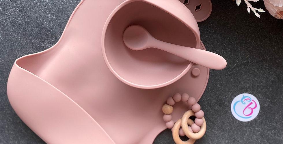 Set diversificare silicon mat: bol cu ventuza, tacam si bavetica powder pink