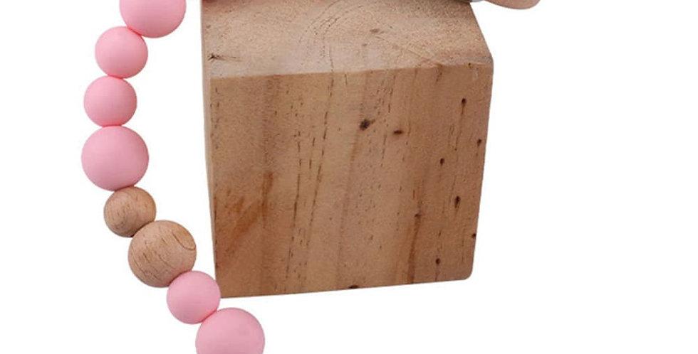 Lantisor cu clips pentru suzeta roz