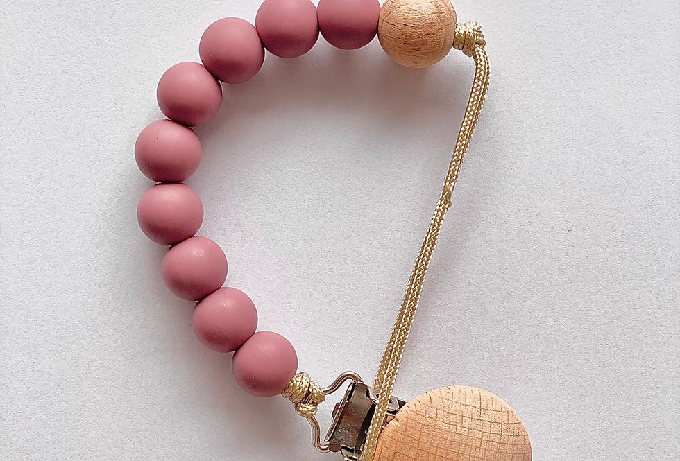Lantisor cu clips pentru suzeta - deep pink
