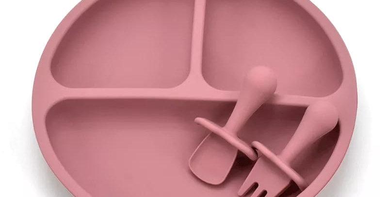Farfurie compartimenta cu tacamuri roz