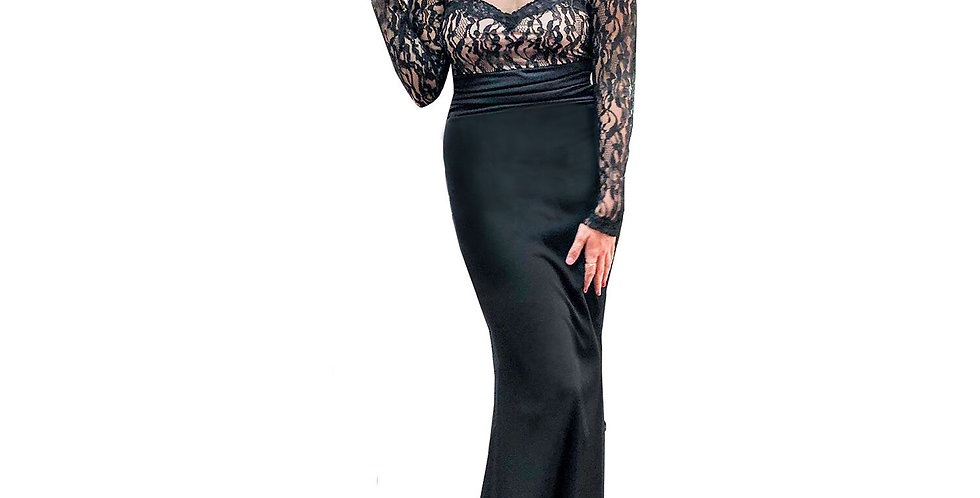 Black Lace Over Nude Gown with Sheer Neckline