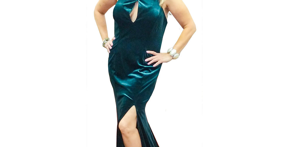 Emerald Keyhole Halter Neck Gown with Slit & Train