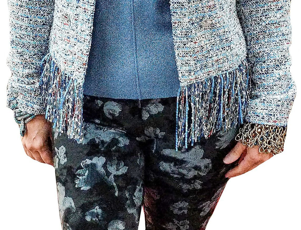 Ice Blue and Black Abstract Print Stretch Miracle Pant
