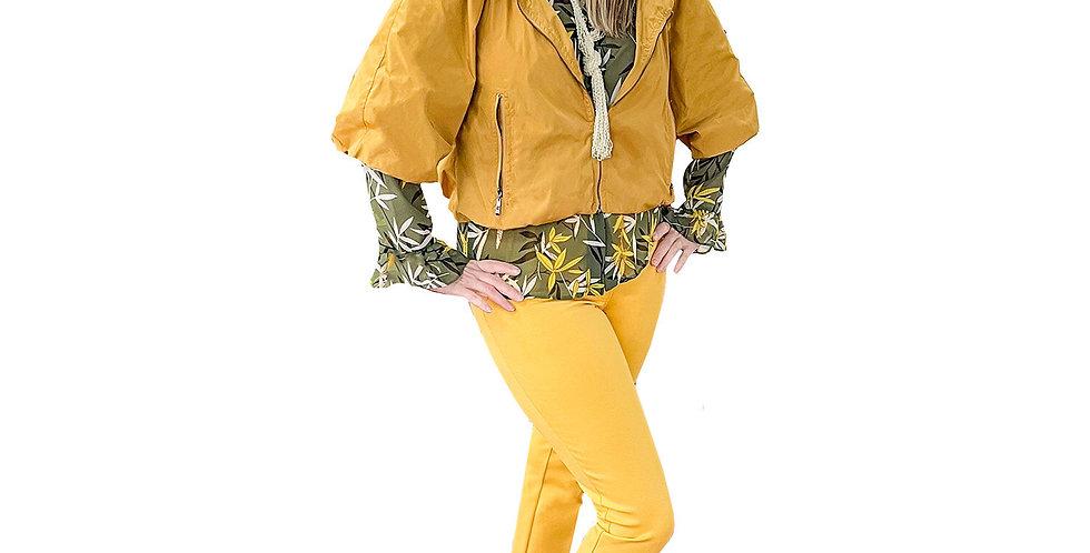 Mustard Cropped Windbreaker Blouson Jacket