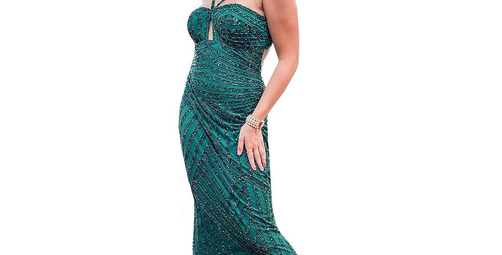 Emerald Beaded Keyhole Low Back Gown