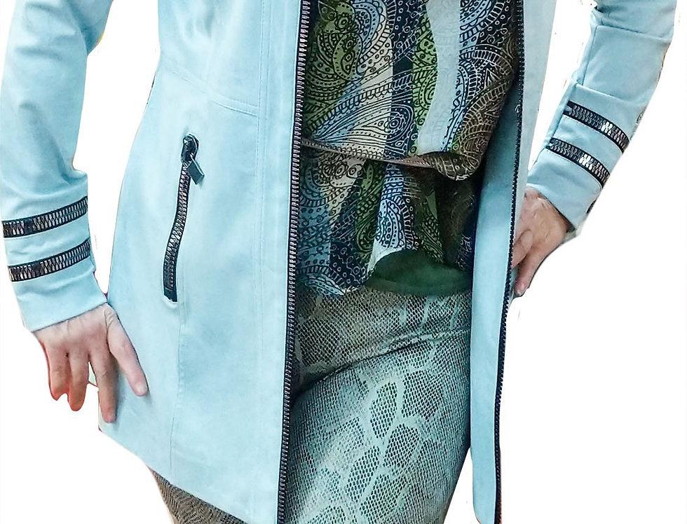 Washable Silk Ocean Tone Graphic Tunic