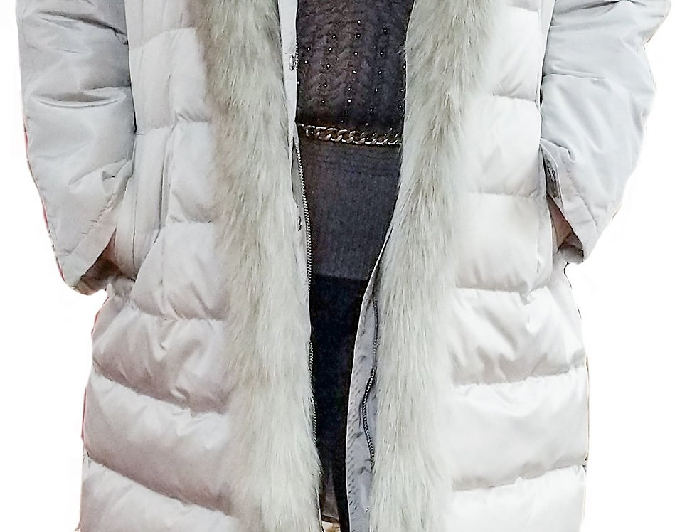 2-in-1 Icy Taupe Fox Trim Vest Detaching to Long Sleeve All-Weather Coat