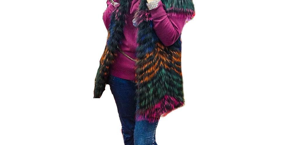 Multi Jewel Tone Feathered  Fox Cap Sleeve Vest