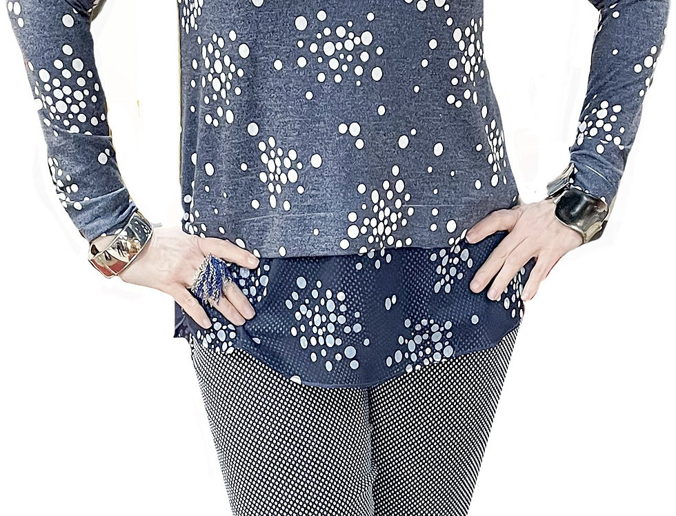 French Blue/White Dot Knit Tunic with Chiffon Hem Line