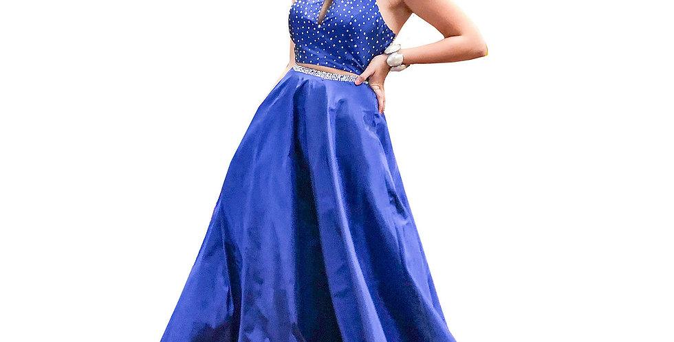 2-Piece Cobalt Satin Organza Ball Skirt & Cropped Halter Top