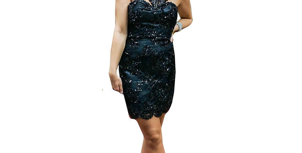 Black Strapless Beaded Mini Dress with Scalloped Hem