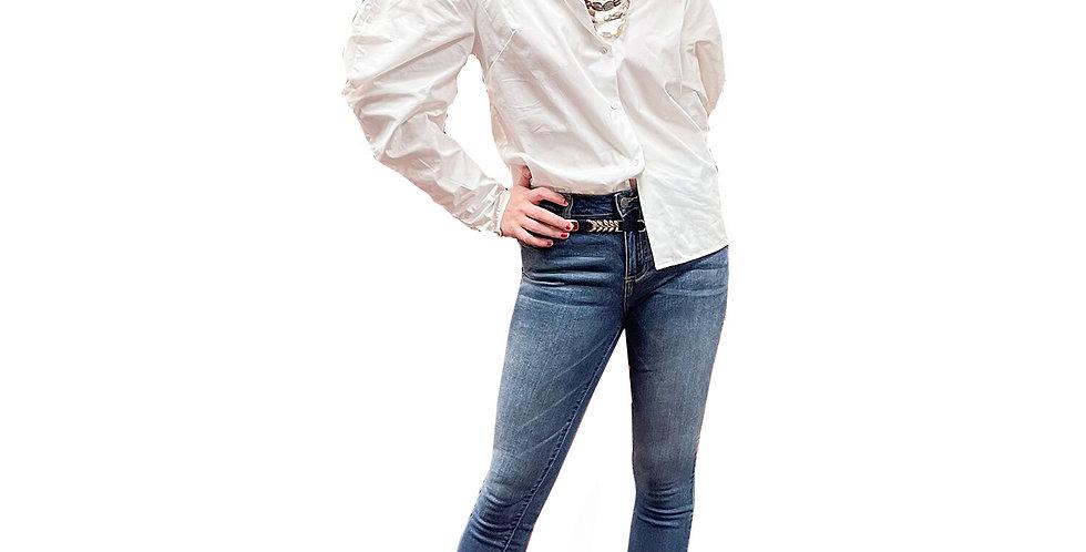 British Mutton Sleeve Cotton Stretch Blouse