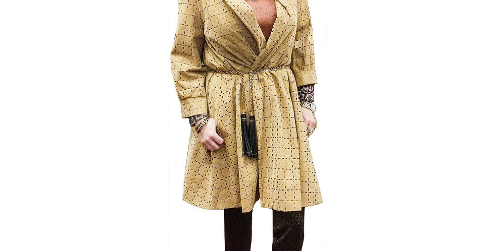 Lasered Micro Suede Wrap Swing Coat