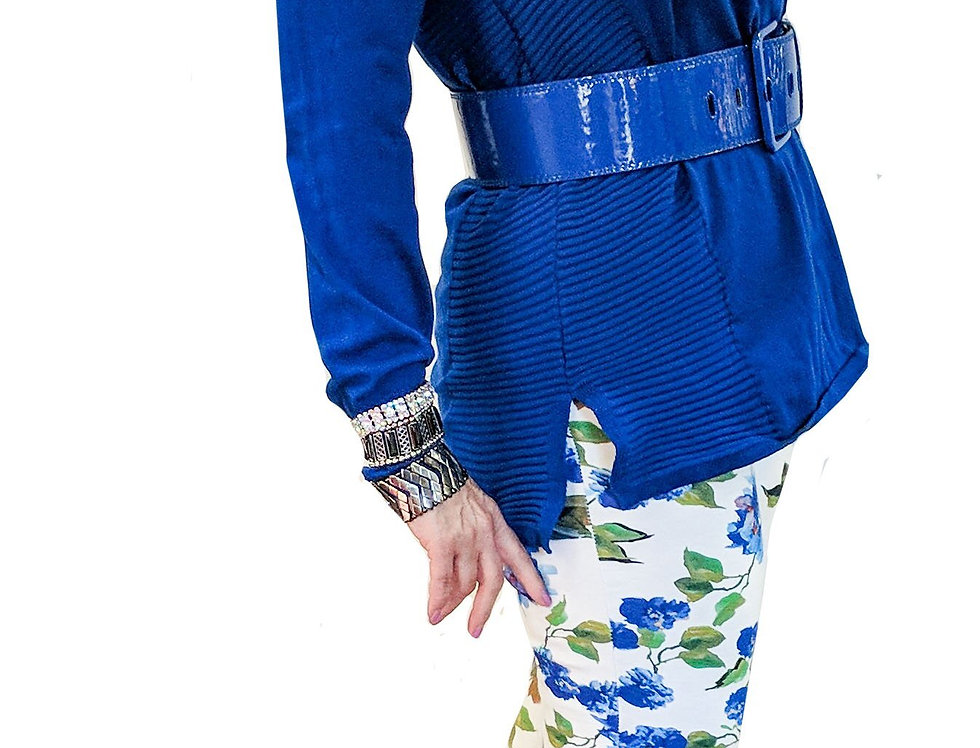 Cobalt and White Floral Print Miracle Pants