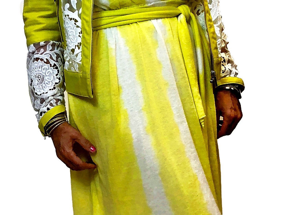 French White Lace and Vegan Lemon Yellow Trim Moto Jacket