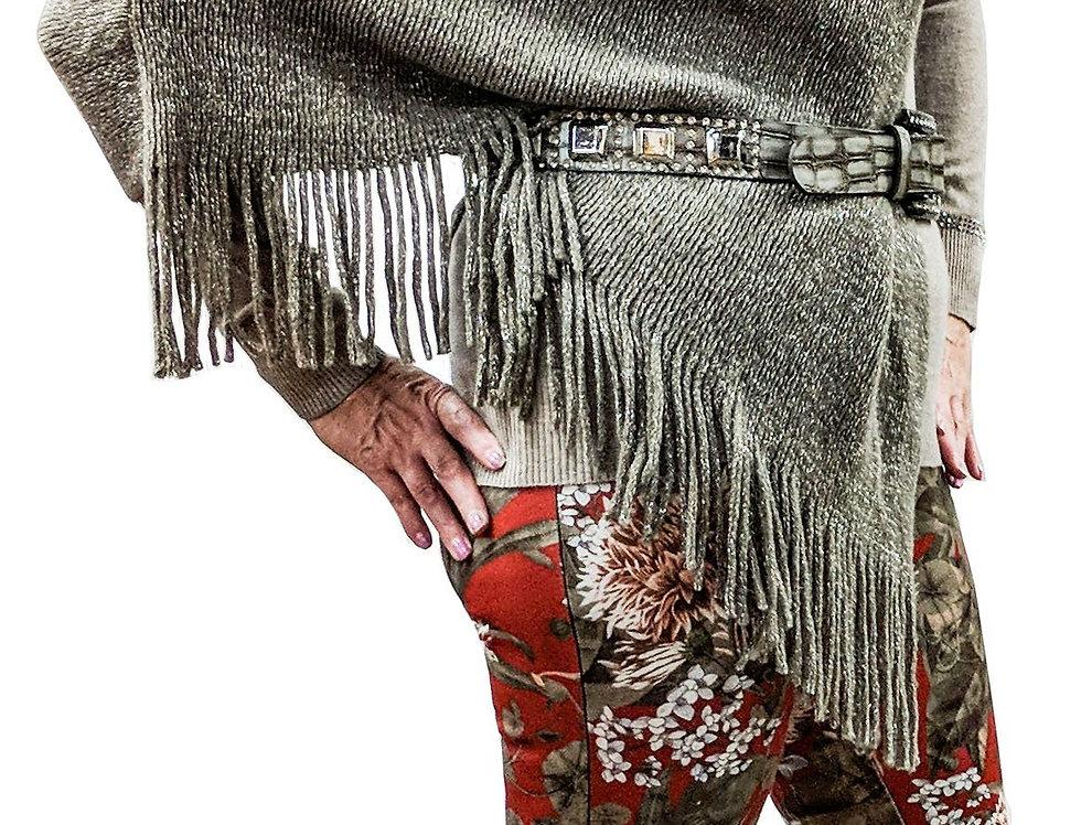 Asymmetric Drape Fringe Knit Ponte