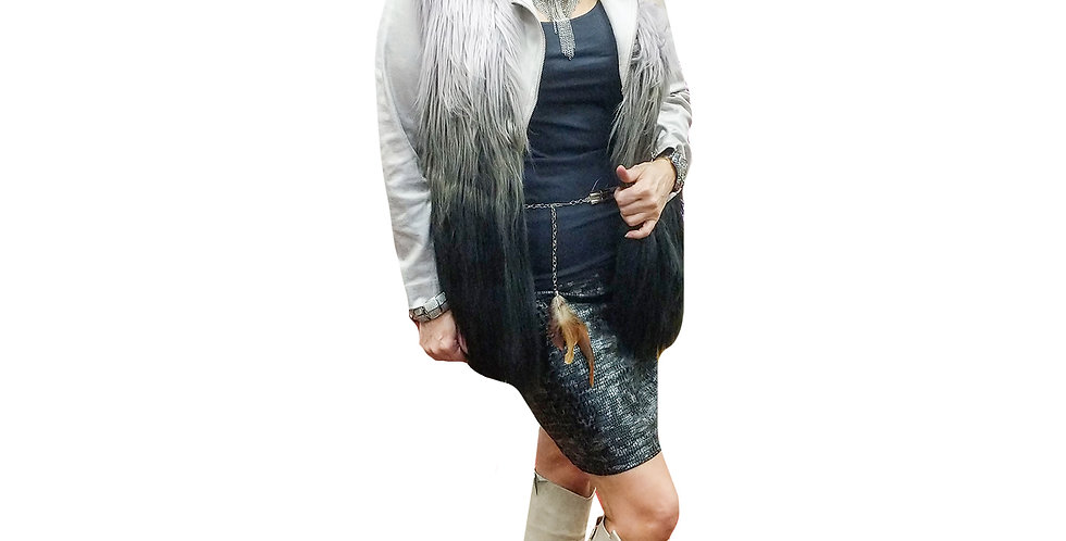White and Slate Ombre Faux Fur Vest