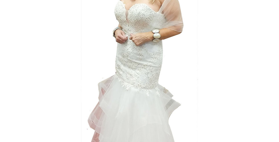 Tiered Tulle Mermaid Gown with Crystal Lace Bodice & Plunging Neckline