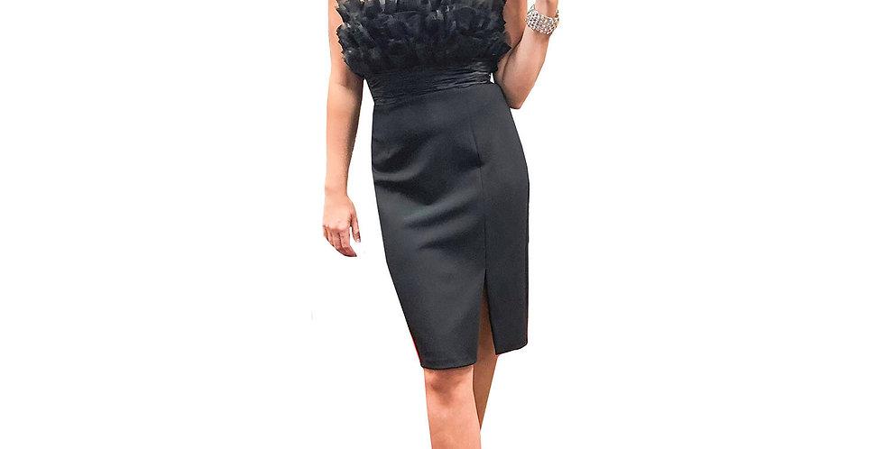 Black Strapless Chiffon Ruffle Top with Center Slit Mini Dress