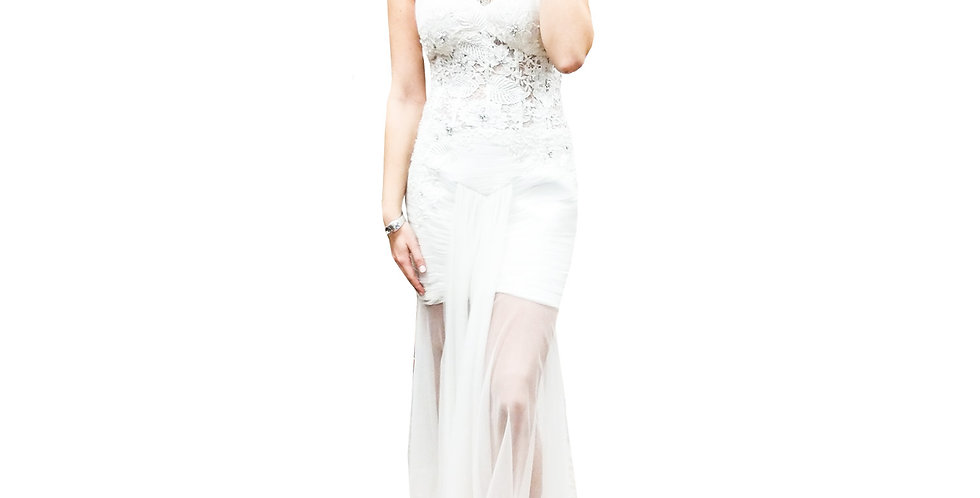 Lace Embroidered Strapless Gown with Sheer Floor Length Overlay