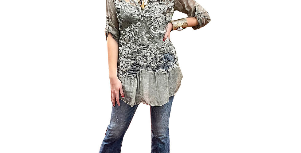 Italian Sheer Embroidered Ruffle Hem Tunic with Stretch Jersey Cami