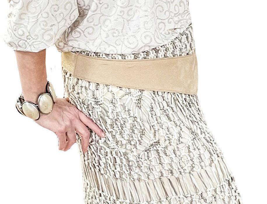 Gold Scroll on Cream Stretch Jersey Tunic
