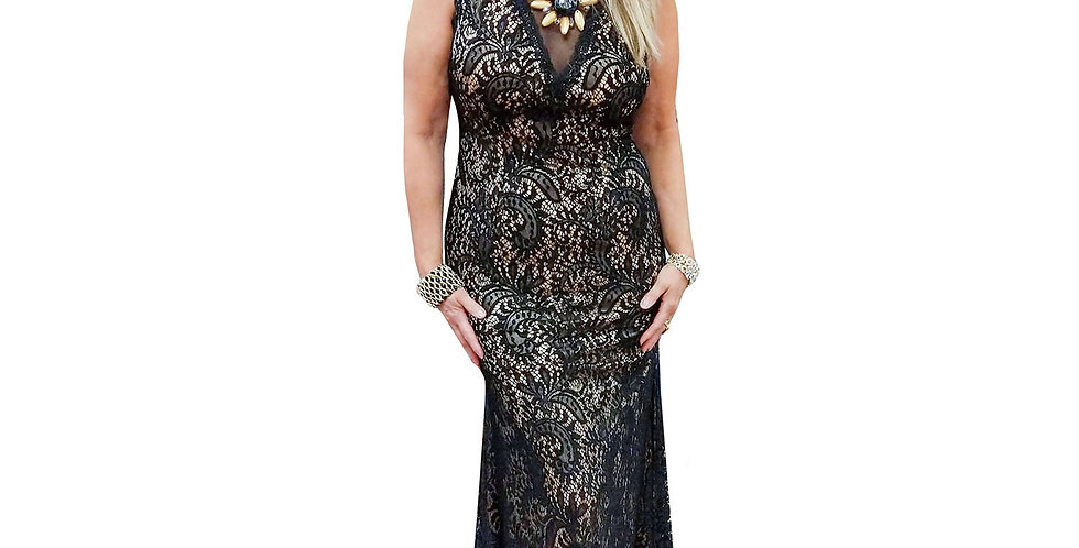 Black Lace Over Nude Low V Gown