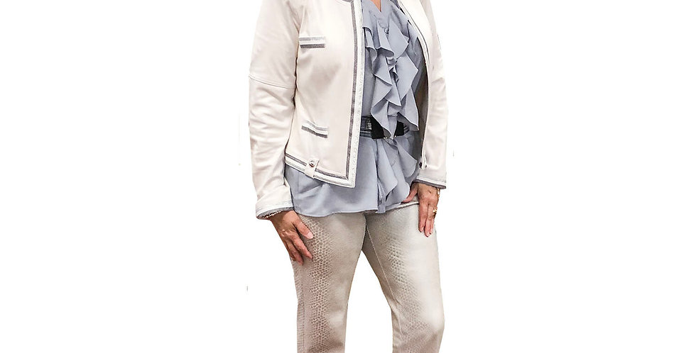 Coconut and Silver Striped Trimmed Stretch Vegan Leather Collarless Jacket