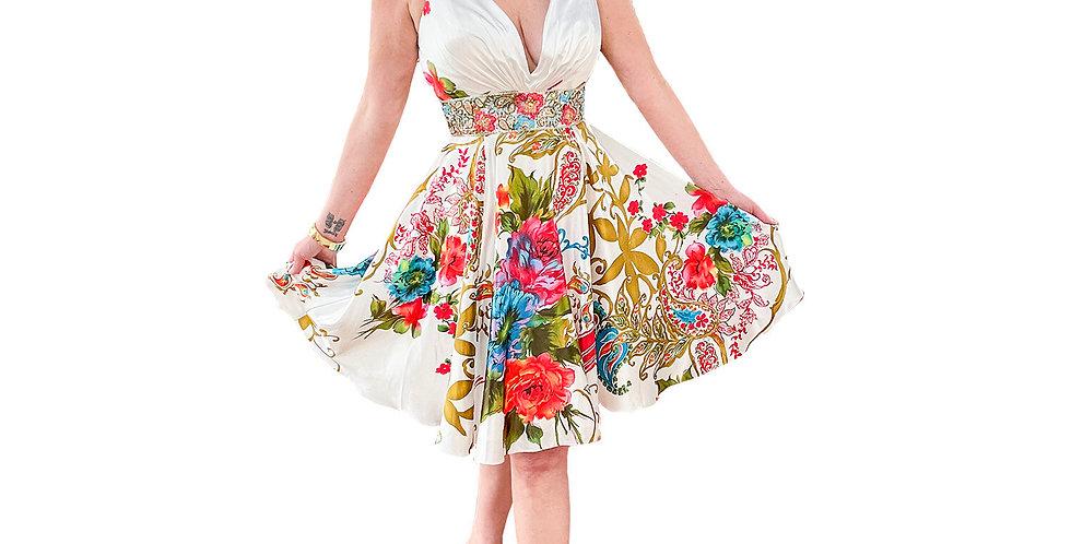 Silk Floral Bouquet Jewel Encrusted Waist Dress