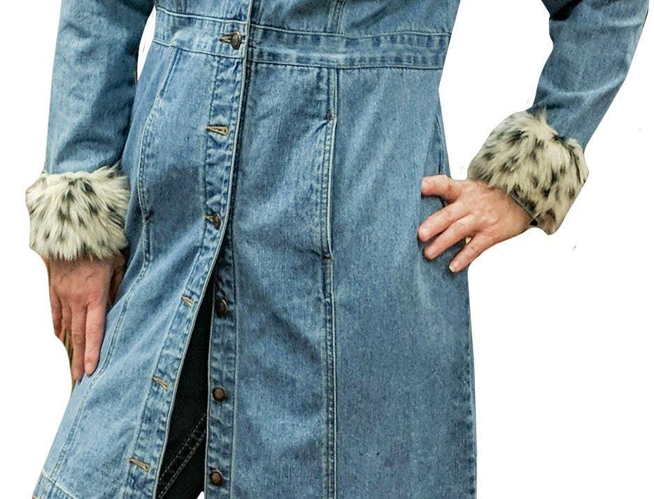Snap-Front Antique Wash Denim Jacket Dress with Faux Leopard Trim