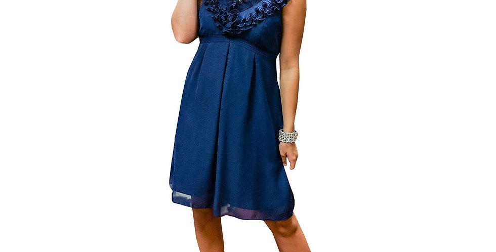 Chiffon Ruffled Neckline Iconic Crepe Dress