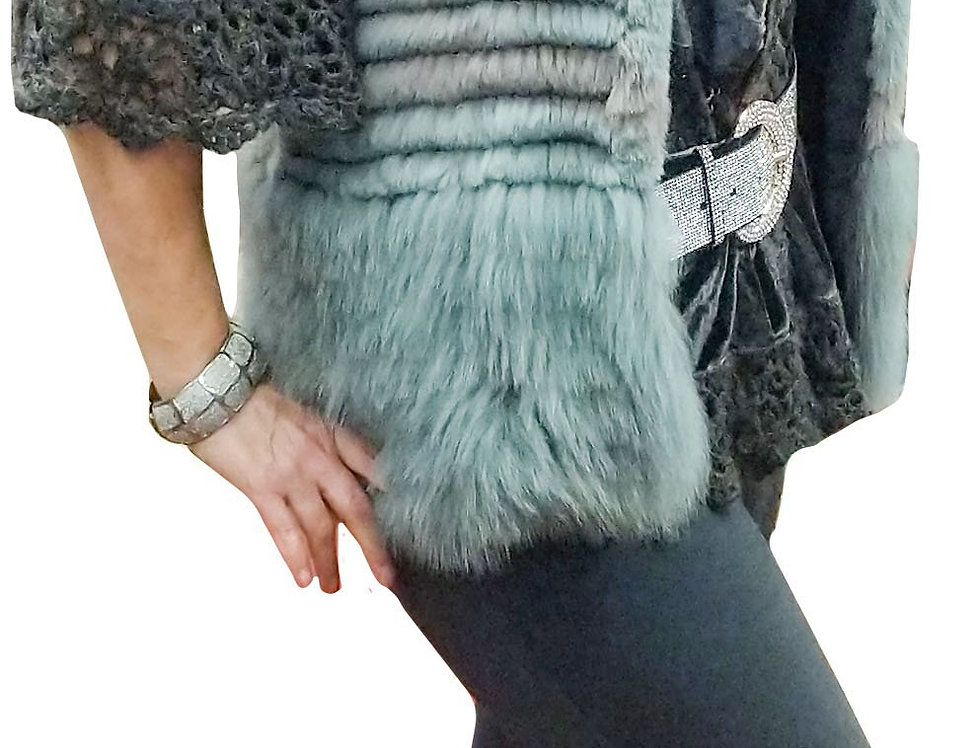 Icy Blue and Grey Beveled Fox Vest