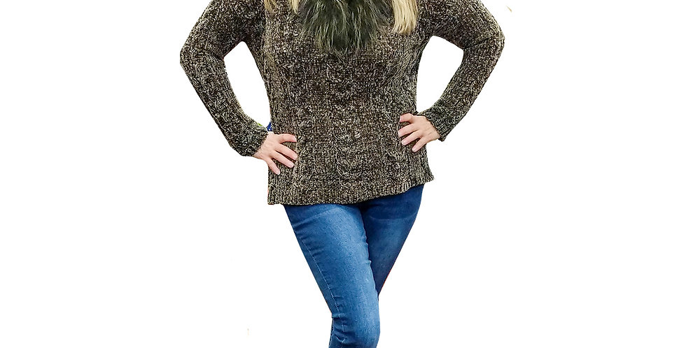 Olive Cabled Velvet Sweater with Detachable Fox Collar