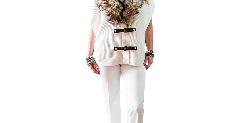 Double Toggle Cotton Ribbed Cap Sleeve Tunic Vest with Faux Fur Collar